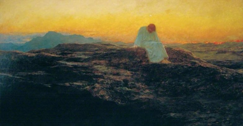 """""""Jesus in the Wilderness"""" by Briton Rivière.  From WikiMedia."""