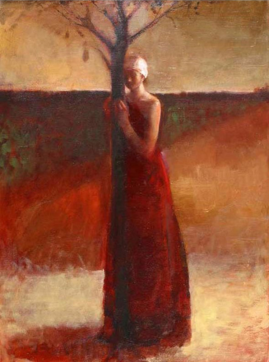Artist depiction of woman embracing a tree