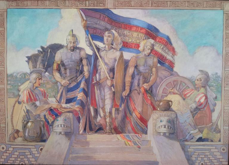 Moroni and the Title of Liberty by Minerva Teichert