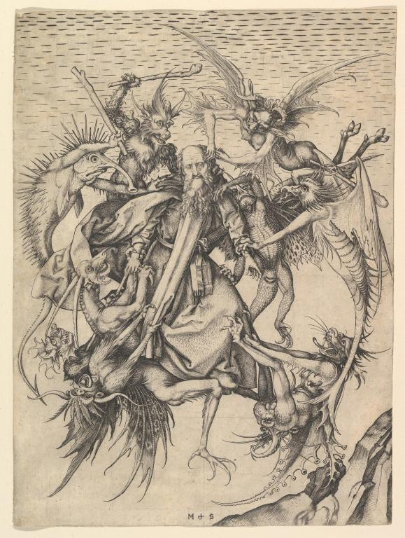 "US Public Domain: ""The Temptation of St. Anthony"" by Martin Schöngauer c. 1480-90. Engraving. The Metropolitan Museum of Art, New York"