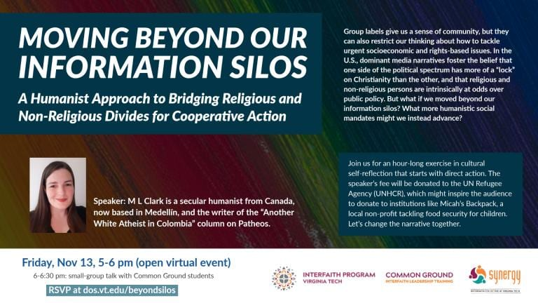 Moving Beyond Our Information Silos event poster for Virginia Tech. It's essentially an introduction to humanism as that which bridges religious and non-religious divides for better cooperative action.