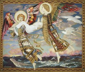 Brigid flown by angels to deathbed of Andrew the Scot