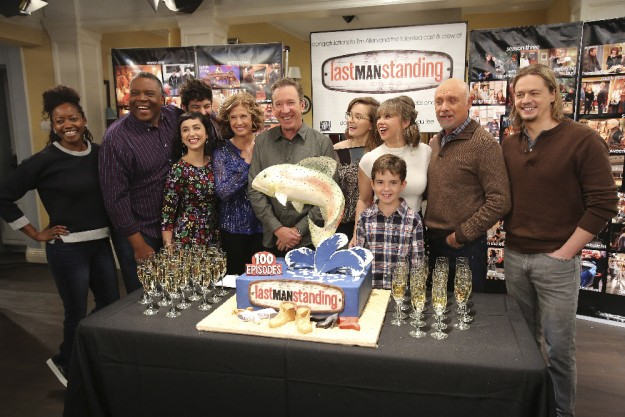 "LAST MAN STANDING - The cast and crew on the set of ""Last Man Standing"" celebrated the series' 100th episode entitled, ""The Ring"" airing FRIDAY, JANUARY 29 (8:00-8:31 p.m. EST) , on the ABC Television Network. (ABC/Ron Tom) ERIKA ALEXANDER, JONATHAN ADAMS, MOLLY EPHRAIM, JORDAN MASTERSON, NANCY TRAVIS, TIM ALLEN, KAITLYN DEVER, AMANDA FULLER, FLYNN MORRISON, HECTOR ELIZONDO, CHRISTOPH SANDERS"