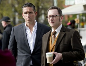 """""""No Good Deed"""" -- The newest POI's curiosity could spell his doom when he finds himself embroiled in a dark government conspiracy - one that Finch (Michael Emerson, right) is all too familiar with, on PERSON OF INTEREST, Thursday, May 10 (9:00 - 10:00 PM, ET/PT) on the CBS Television Network. Meanwhile, Reese (Jim Caviezel, left) uncovers something revealing about Finch's past. Photo: John Paul Filo/CBS  �©2012 CBS Broadcasting Inc. All Rights Reserved."""