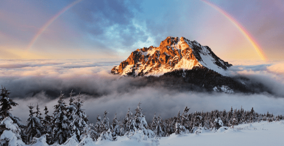 mountain with rainbow