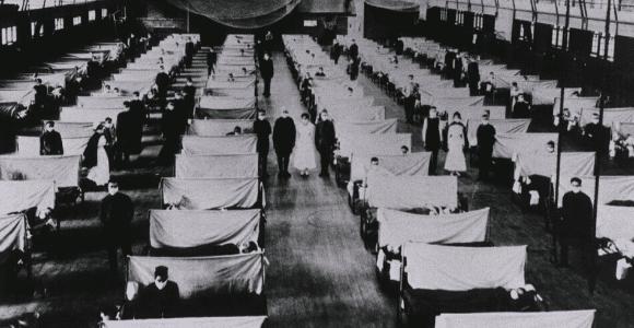 Spanish Flu Epidemic U.S. school gymnasium converted into an flu ward