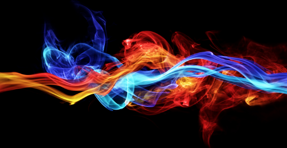 blue and red flame