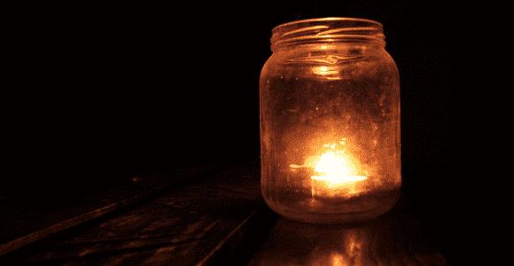 light in a jar in the dark