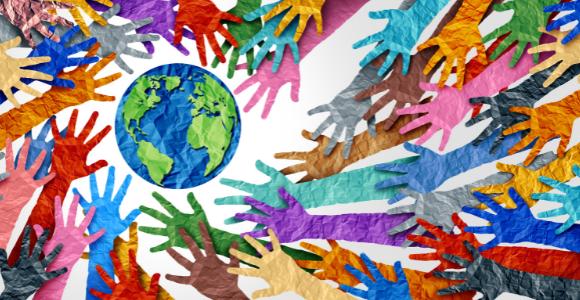 diversity of hands around a globe