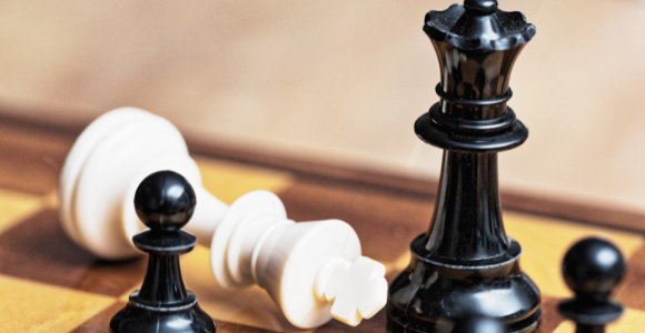 toppling the patriarchy illustrated with chess pieces