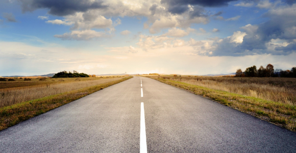 A long stretch of road ahead to illustrate looking to the future
