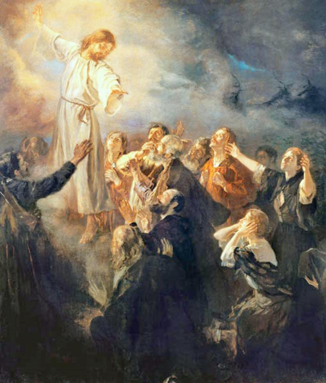 Jesus ascends into heaven and the apostles are filled with joy