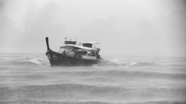a boat in a storm at sea