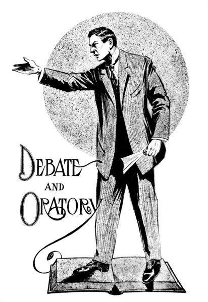 """Debate and Oratory"". Image for first page of ""Debate and Oratory"" section of 1909 Tyee (yearbook of the University of Washington). Public domain."