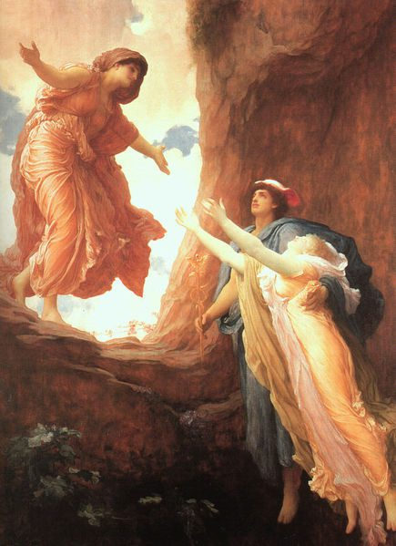 The return of Persephone, by Frederic Leighton (1891). Image via Wikimedia Commons. Public domain.