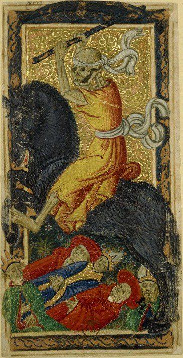Death. Charles VI (or Gringonneur) Deck; Le tarot dit de Charles VI. Public domain. Image via Wikimedia Commons.