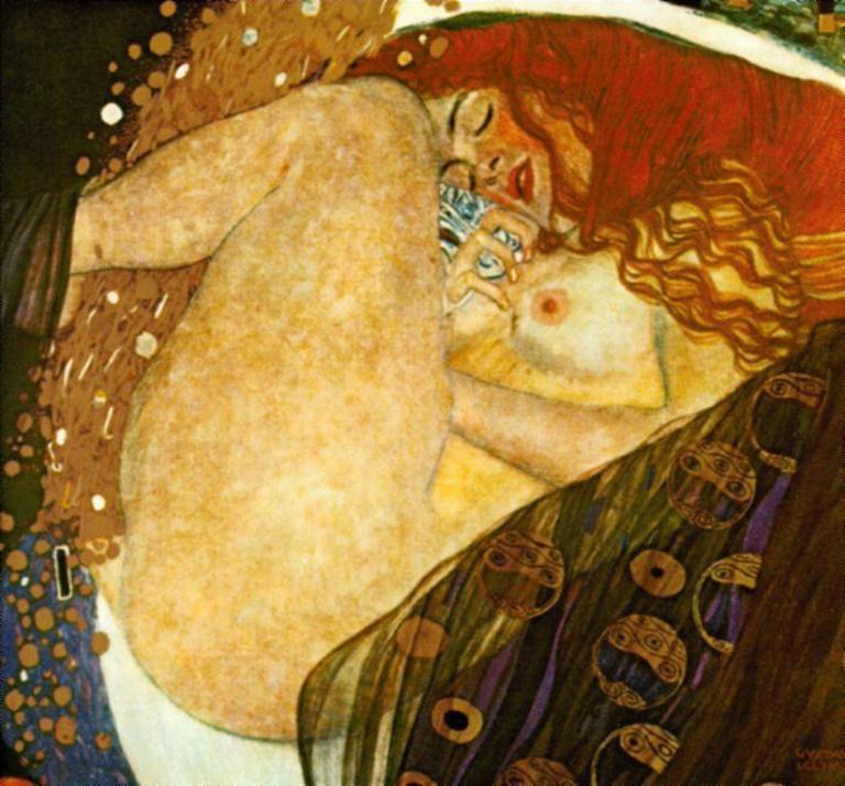 Danaë by Gustav Klimt. Image via Wikipedia. Public domain.