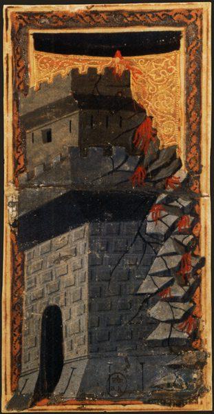 The Tower. Charles VI (or Gringonneur) Deck; Le tarot dit de Charles VI. Image via Wikimedia Commons. Public domain.