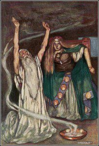 Queen Maeve and the Druid, 1904. Illustration by Stephen Reid. Image via Wikimedia Commons. Public domain.
