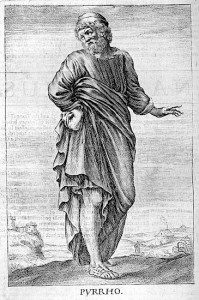 Pyrrho, ancient Greek philosopher. Thomas Stanley, 1655, The history of philosophy. Public domain image.