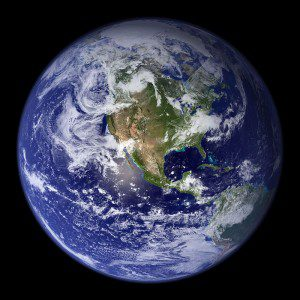 Earth_Western_Hemisphere. Image via Wikimedia Commons. Public domain.
