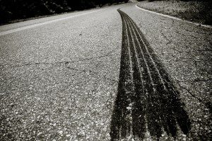 a tire tread on a road