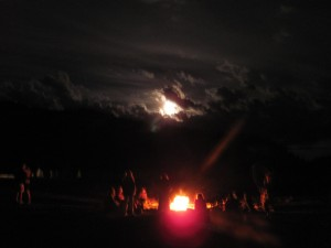 A circle, a fire, and light in the darkness.