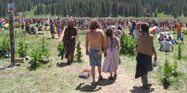 main meadow at a national rainbow gathering in Colorado
