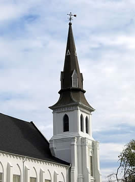 """The steeple of Emanuel African Methodist Church, Charleston, SC"" by Spencer Means from New York City, USA - The steeple of Emanuel African Methodist Episcopal Church, Charleston, SCLicensed under CC BY-SA 2.0 via Wikimedia Commons."