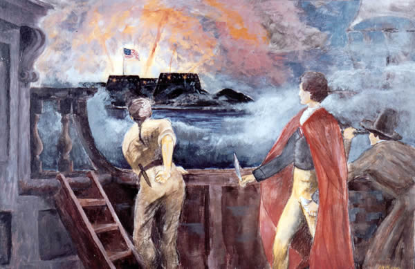 Painting (by LTJG James Murray) of Francis Scott Key penning the Star Spangled Banner, NHHC Photo NH 86765-KN