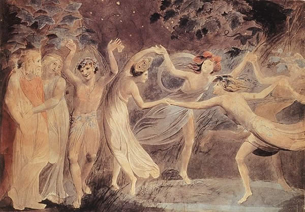 """William Blake - Oberon, Titania and Puck with Fairies Dancing"" by William Blake - http://www.bildindex.de ([1]]. Licensed under Public Domain via Wikimedia Commons."