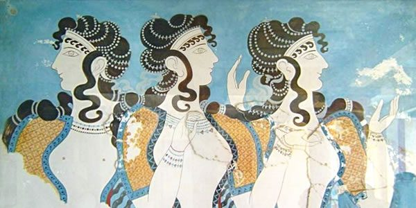 """""""Knossos fresco women"""" by cavorite - http://www.flickr.com/photos/cavorite/98591365/in/set-1011009/ Licensed under CC BY-SA 2.0 via Wikimedia Commons."""