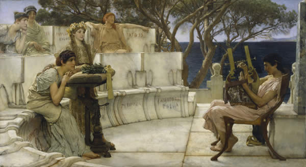 """""""Sir Lawrence Alma-Tadema, RA, OM - Sappho and Alcaeus - Walters 37159"""" by Lawrence Alma-Tadema - Walters Art Museum:  Home page Info about artworkLicensed under Public Domain via Commons."""