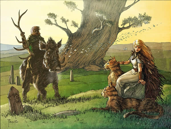 Freyr riding his boar with a staff while Freya sits with cats