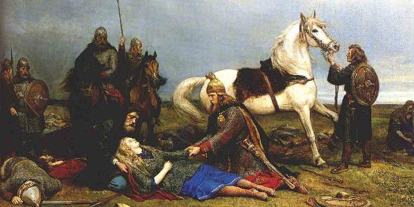 Hervor dying after battle with the Huns, by Peter Nicolai Arbo.  From WikiMedia.