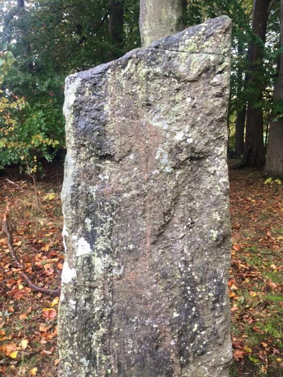 A close-up of one of the standing stones pictured elsewhere on this page