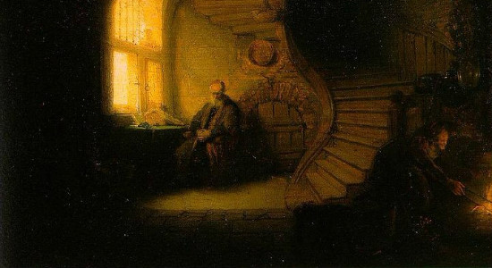 """""""The Philosopher"""" by Rembrandt.  From WikiMedia."""