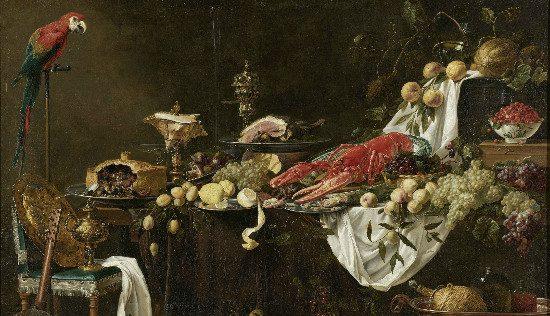 Banquet Still Life, by Adriaen van Utrecht.  From WikiMedia.