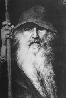 """""""Georg von Rosen - Oden som vandringsman, 1886 (Odin, the Wanderer)"""" by Georg von Rosen - Appeared in the 1893 Swedish translation of the Poetic Edda. Immediate source: http://www.ginnungagap.info/gge_pic6.asp (accessed July 14th 2005). Taken from the English Wikipedia.. Licensed under Public Domain via Wikimedia Commons."""