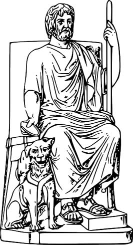 a drawing of Hades, Greek god of the underworld