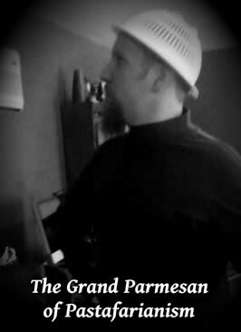 """a photo of the author wearing a colander with the title """"The Grand Parmesan of Pastafarianism"""""""