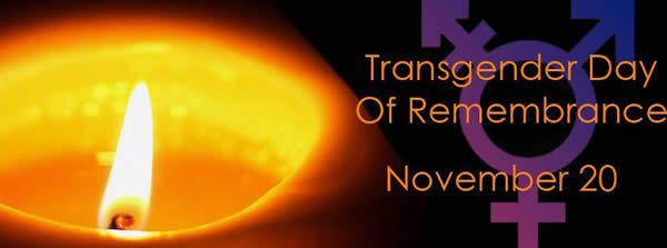 a banner image for the Transgender Day of Rememberance on November 20