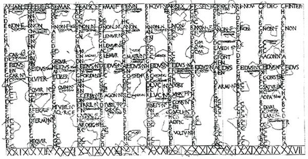 a drawing of a roman calendar