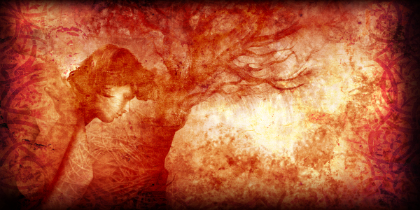 an abstract image showing a woman and a tree colored red