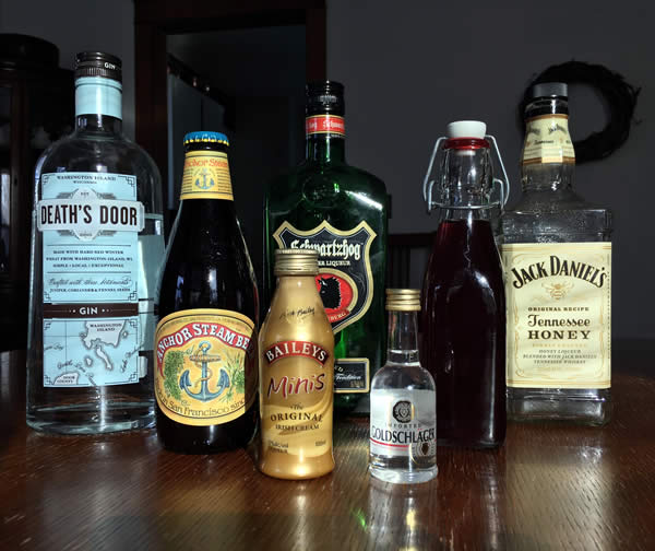 a series of alcohol bottles
