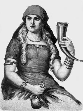 a woman with braided hair holding a drinking horn