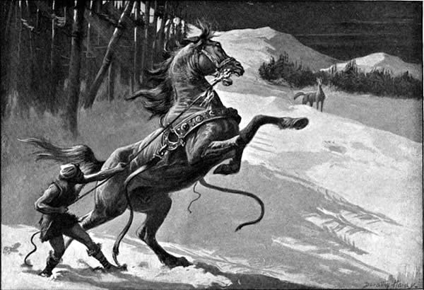 Loki, in the form of a mare, tempts a stallion