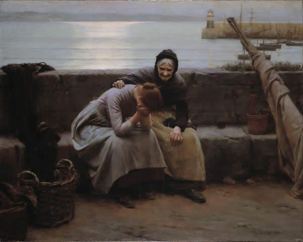 a painting of an older woman comforting a younger one