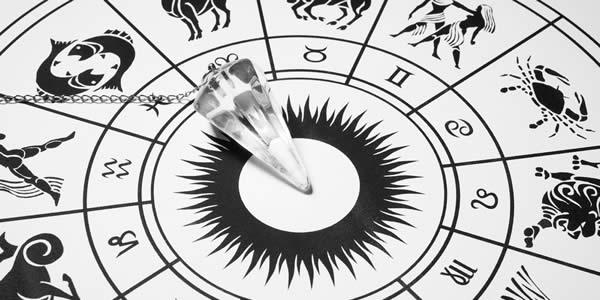 Crystal pendulum with zodiac wheel for astrology