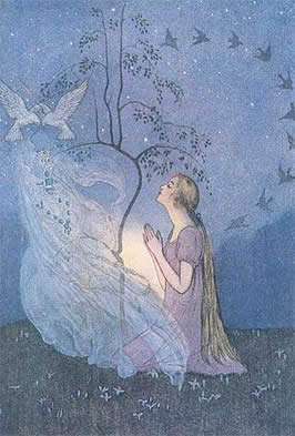 a drawing of a blond woman in a prayful pose being met by her fairy godmother